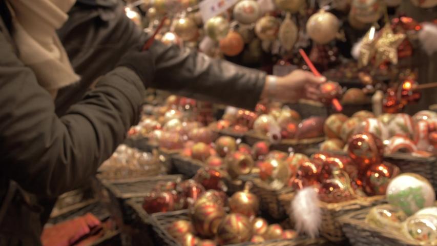 Christmas decorations stall, Christmas Market, Rathausplatz, Vienna, Austria, Europe | Shutterstock HD Video #1033028636