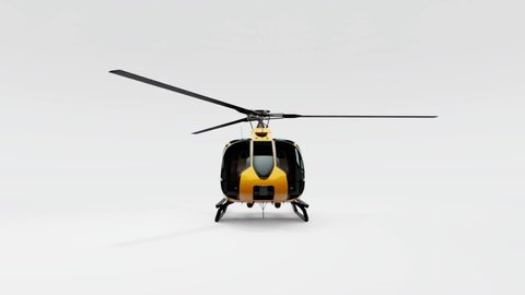 Yellow helicopter isolated on white background  3d rendering