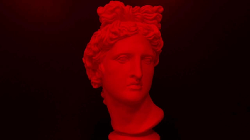 Apollo bust. Digital pixel noise glitch art effect. Retro futurism 80s 90s dynamic wave style. Video signal damage with tv noise and old screen interference. Retro wave, synth wave theme. | Shutterstock HD Video #1033051556