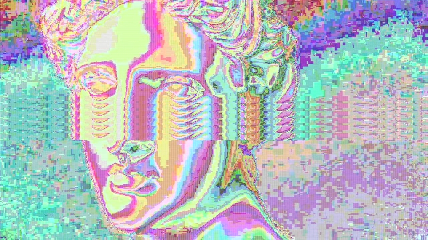Apollo bust. Digital pixel noise glitch art effect. Retro futurism 80s 90s dynamic wave style. Video signal damage with tv noise and old screen interference. Retro wave, synth wave theme. | Shutterstock HD Video #1033051616