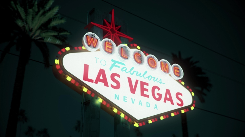 Las Vegas Sign At Night, Crash Pan, Left To Right | Shutterstock HD Video #1033162136
