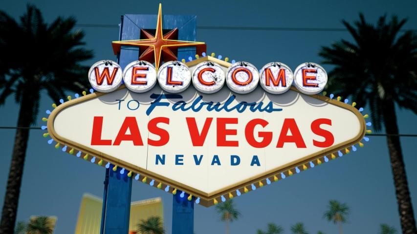 Las Vegas Sign At Night, Centered Rotating Crash Zoom | Shutterstock HD Video #1033162226