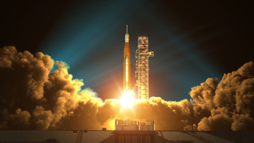 Night Takeoff Of Space Launch System. Slow Motion. 3D Animation. 4K. Ultra High Definition. 3840x2160. | Shutterstock HD Video #1033229396