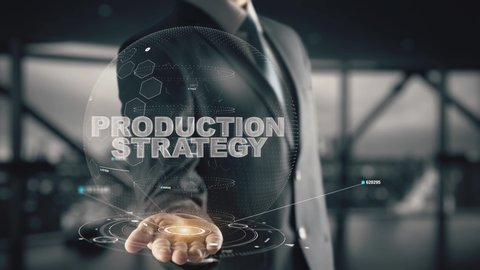 Production Strategy with hologram businessman concept