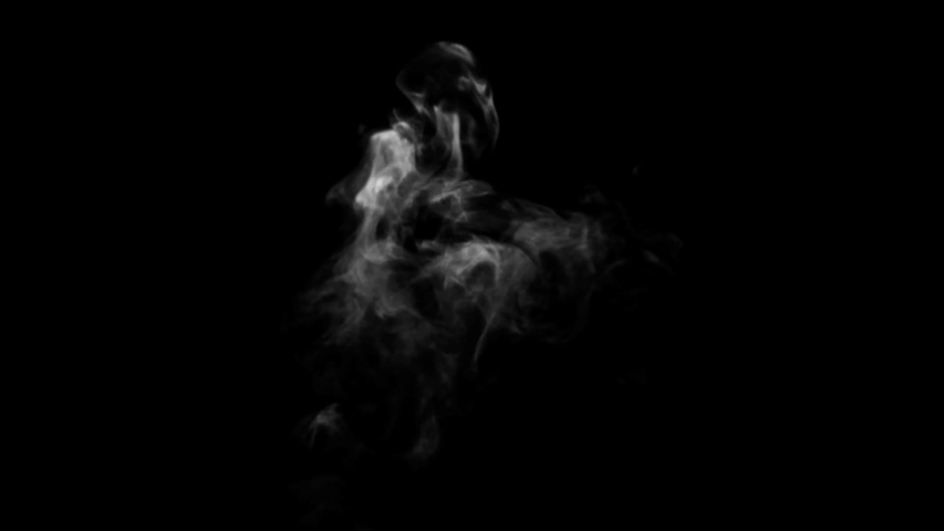Spooky magic halloween. Atmospheric smoke VFX element. Haze background. Abstract smoke cloud. Smoke in slow motion on black background. White smoke slowly floating through space against bg   Shutterstock HD Video #1033406426