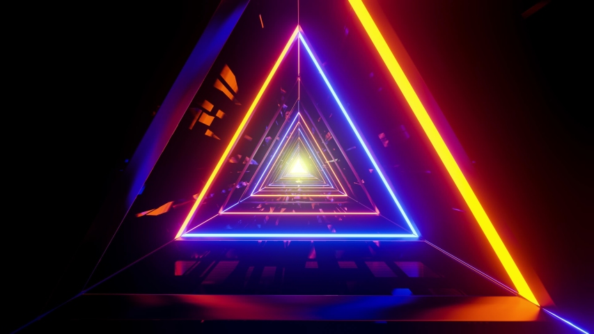 Triangular space tunnel with random bright neon in an infinite loop | Shutterstock HD Video #1033469486