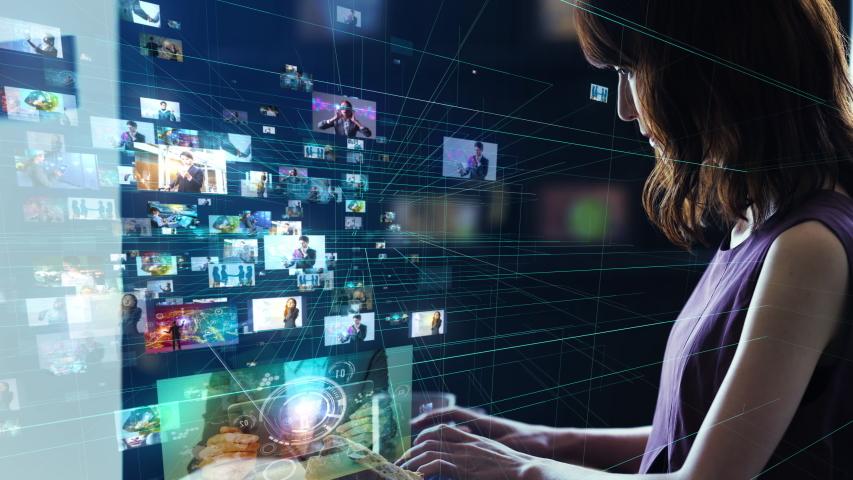 Screens of multimedia concept. Social media. Streaming video. | Shutterstock HD Video #1033489736