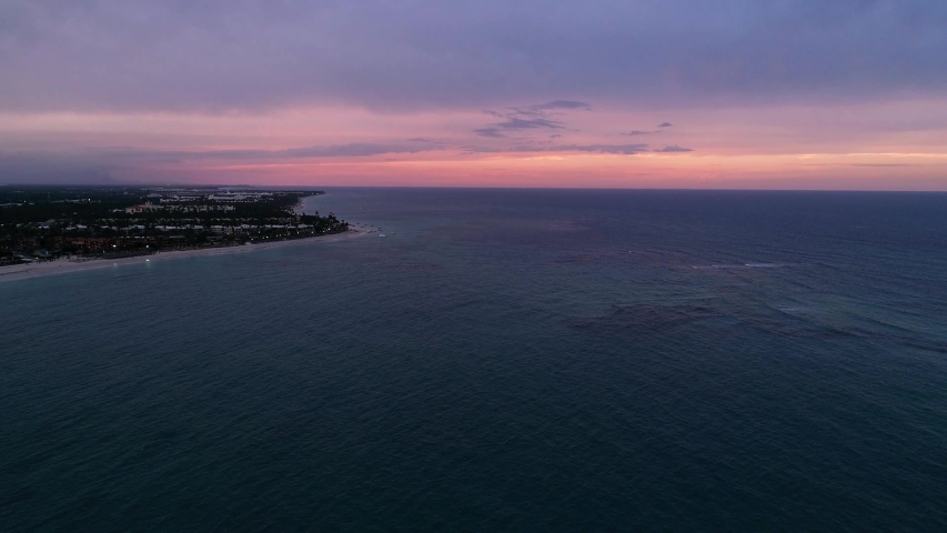 Romantic Colorful Beach Sunset, Rising Aerial Drone Above Tropical Palm Trees | Shutterstock HD Video #1033582706