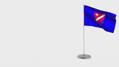 Molise waving flag animation on Flagpole. Perfect for background with space on the left side.