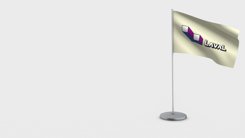 Laval Quebec waving flag animation on Flagpole. Perfect for background with space on the left side. | Shutterstock HD Video #1033624676