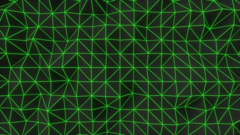 Abstract animated background made of polygonal shape. Dark low poly displaced surface with green glowing connecting lines. 3D rendering animation loop