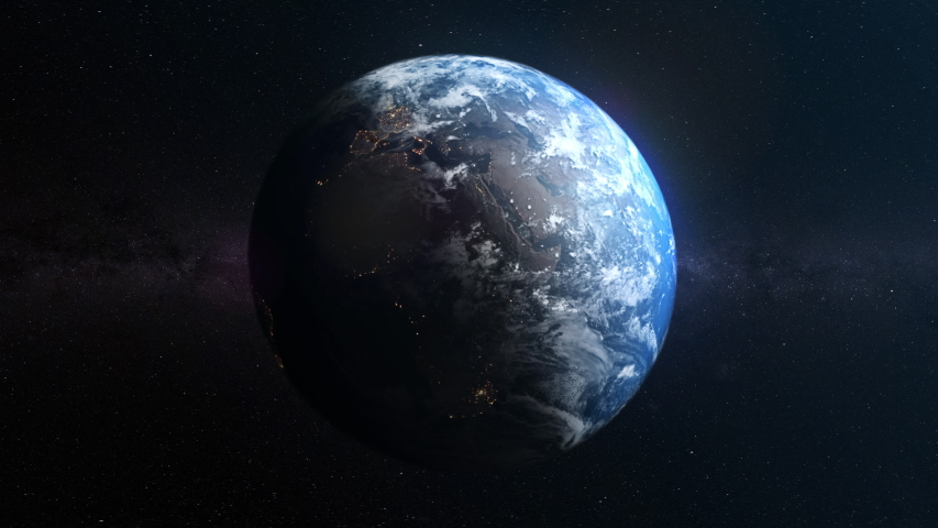 Seamless realistic Earth rotation with night and day | Shutterstock HD Video #1033707416
