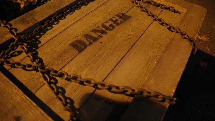 Wooden old box chain danger someone inside hitting halloween | Shutterstock HD Video #1033749686