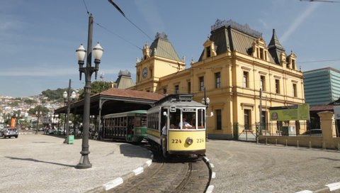 Santos, São Paulo / Brazil - 07/13/2019:  touristic tram departing from Valongo Train Station in the historic center