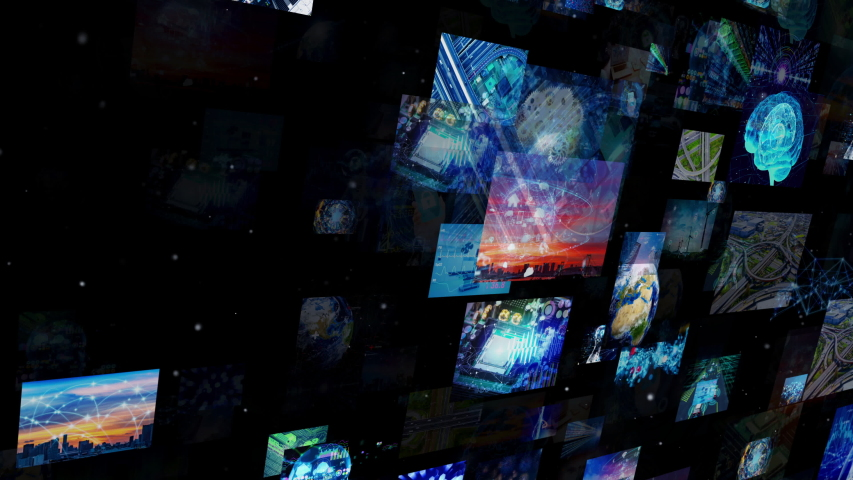 A lot of screens in cyberspace. Social media. Broadcasting. Streaming video. | Shutterstock HD Video #1033933556