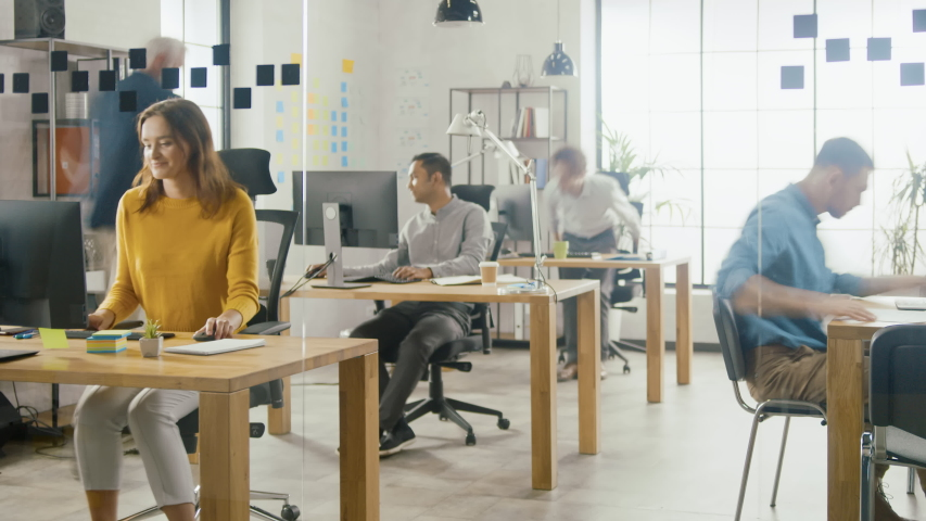 Time-Lapse Shot: Group of Professional Employees Working on Desktop Computers, Walking Through the Busy Office. Talking With Colleagues, Designing Software, Doing Customer Support, Emailing Clients | Shutterstock HD Video #1033983056