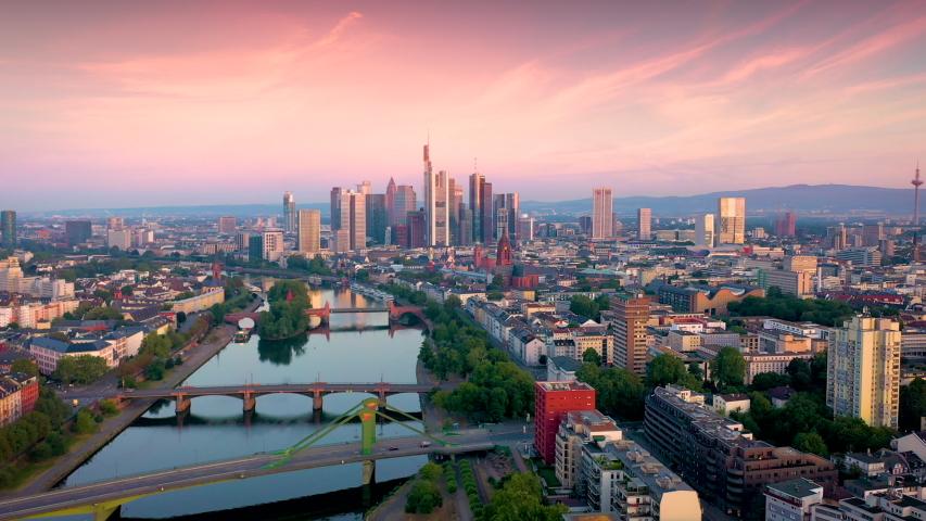 Frankfurt aerial skyline view at sunset, beautiful sunset sky over frankfurt city germany. | Shutterstock HD Video #1033983476