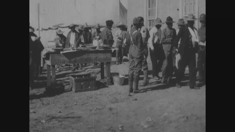 CIRCA 1916 - A church-hospital is fumigated for soldiers of the Mexican Expedition. Soldiers from both sides are brought to Red Cross hospitals.