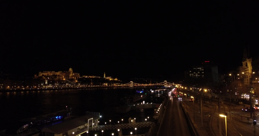 Wide shot of the Danube panorama at night from the Elisabeth Bridge in Budapest. | Shutterstock HD Video #1034439686