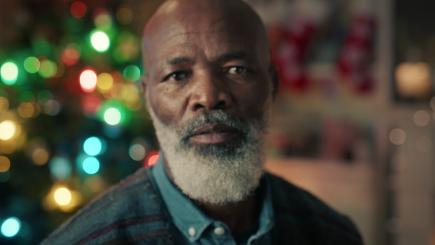 Portrait mature african american man celebrating christmas at home enjoying festive holiday season 4k | Shutterstock HD Video #1034490026