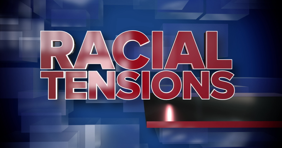 A red and blue dynamic 3D Racial Tensions news title page background animation.	 	 | Shutterstock HD Video #1034547866