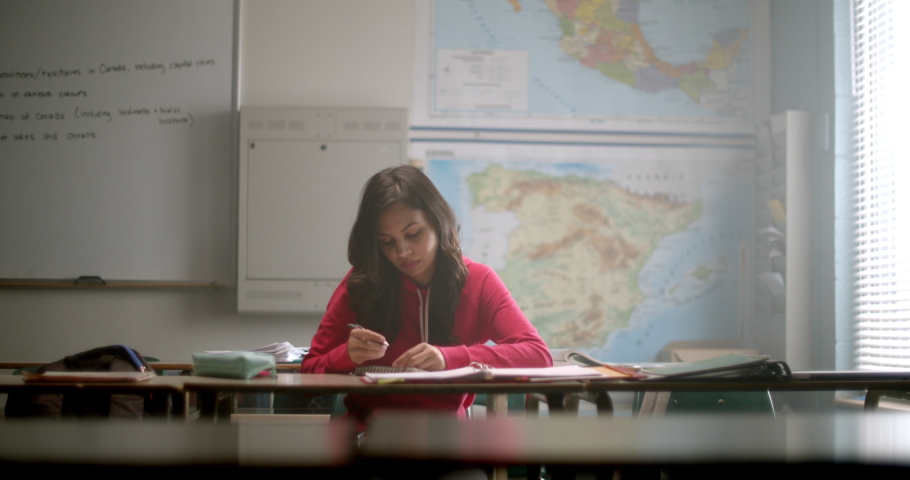 Young student taking notes in notebook while in Geography class with map behind her | Shutterstock HD Video #1034649836