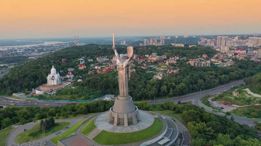 Drone footage Aerial view of the Motherland Monument in Kiev Kyiv, Ukraine | Shutterstock HD Video #1034743796