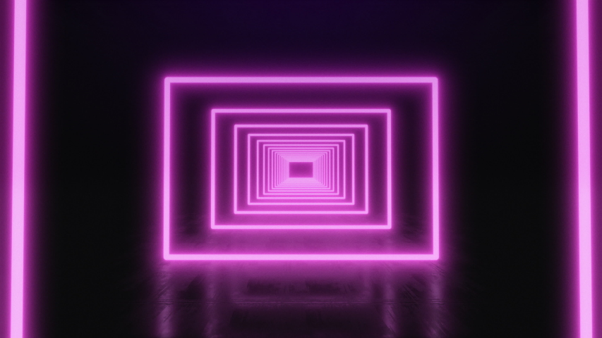3d Abstract seamless background, looped animation. Neon rectangles. | Shutterstock HD Video #1034788256