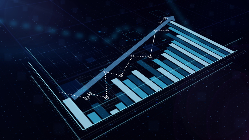 3D animation of a rising blue bar graph with arrow, professional look and feel, ultra HD 4K | Shutterstock HD Video #1034801996