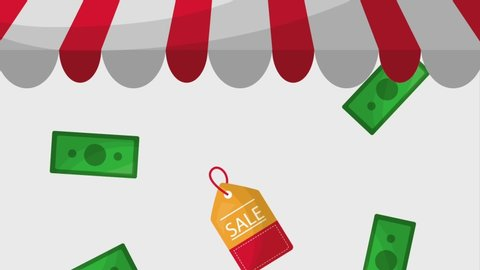 online shopping animation motion money and coupons