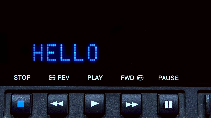 """Disc player with screen. The word """"hello"""" is written on the screen 