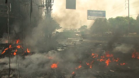 Burning City Street during riots, Bangkok, April 2010