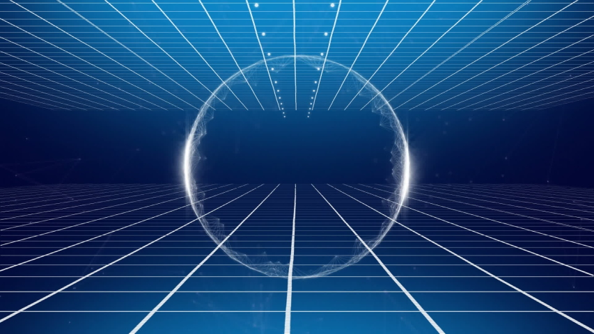 Animation of transparent white circle of glowing light appearing and disappearing over grids top and bottom of screen, moving towards a vanishing horizon on a blue background | Shutterstock HD Video #1034878976