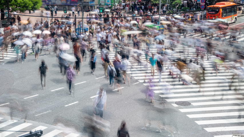 4K Timelapse high angle view wide shot cityscape crowded pedestrian people man and woman tourist walking crossing the street crosswalk with driving cars on the road in summer at Shibuya, Tokyo, Japan #1034957276