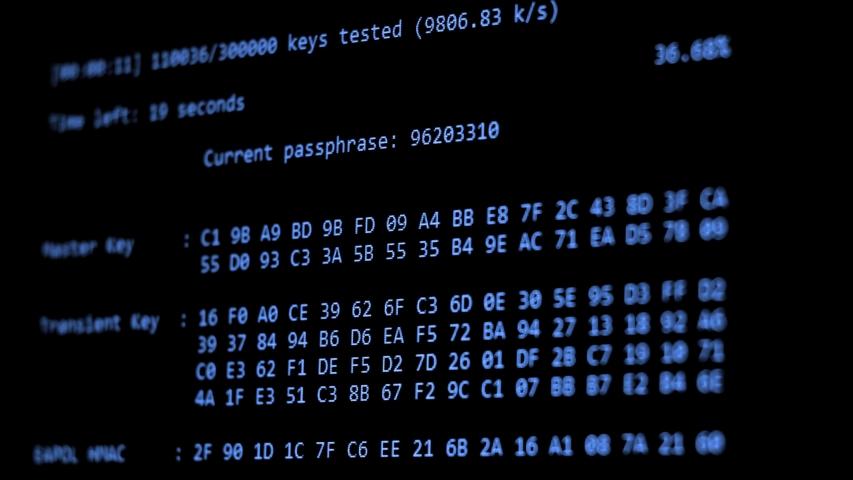 Computer Hacking, hacking bruteforce password attack via Wi-Fi network, Columns Of Hexadecimal Numbers Scrolling On Computer Screen, Key found! dark screen hacker | Shutterstock HD Video #1034958926