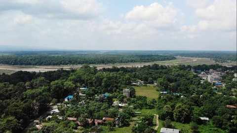 Drone View Over Chitwan National Park in Nepal, South East Asia. 4K Footage