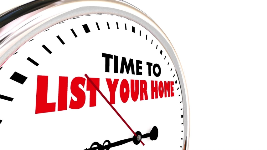 Time to List Your Home Clock Sell House for Sale 3d Animation