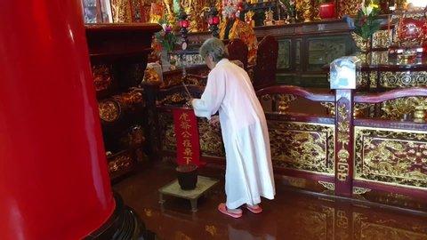 Kaohsiung , Kaohsiung / Taiwan - 05 06 2019: Inside Cihji Palace Temple, Kaohsiung / Taiwan, May 6, 2019