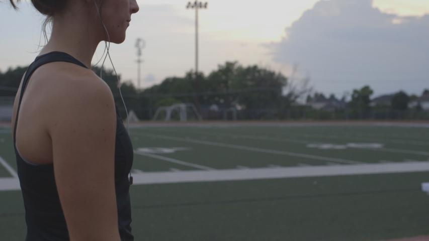 Athlete checking smart watch before run #1035222686