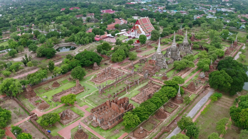 Aerial landscape of Ayutthaya historical park in Ayutthaya province of Thailand. Ayutthaya Historical Park has been registered as a UNESCO World Heritage Site.   Shutterstock HD Video #1035253826
