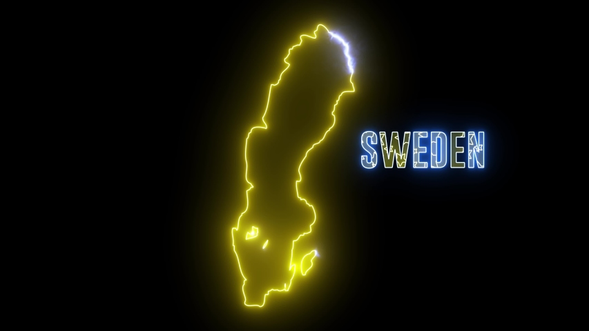 Abstract creative neon lights Sweden map. Outline of Swedish country with glowing led lamp.  | Shutterstock HD Video #1035298916