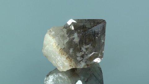 Black Rutilated quartz, terminated crystal, seamlessly rotating, locality, Pakistan.