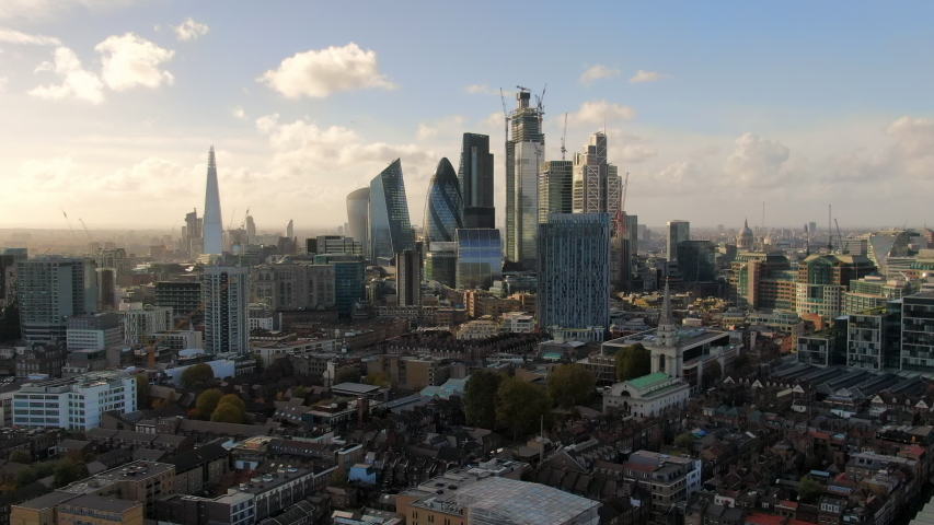 Aerial: London Cityscape and Iconic Skyscrapers, United Kingdom | Shutterstock HD Video #1035380996