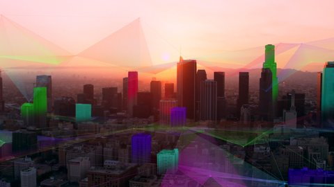 Los Angeles, California aerial connected smart city at sunset with golden hour lighting. Futuristic network and technology showing connectivity. Wide shot on 4k RED camera shot with helicopter.