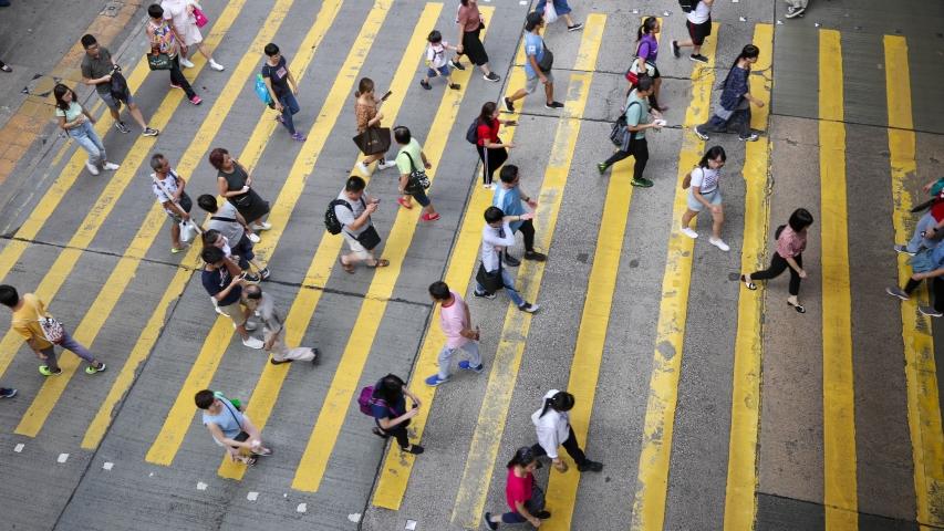 Hong Kong - August 22 2019: Busy pedestrian and car crossing at Mong Kok, Kowloon, Hong Kong. time lapse | Shutterstock HD Video #1035699476