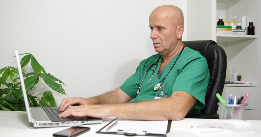 Busy Day Jobs Medical Doctor Man Typing Computer Laptop Clinical ...