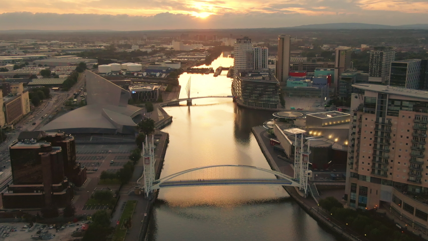 Manchester england 01/08/2019:salford quays media city uk aerial view at sunset