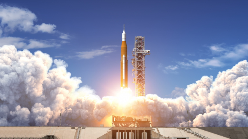 Takeoff Of Space Launch System. Slow Motion. Full 3D Animation. 4K. Ultra High Definition. 3840x2160. #1035947606