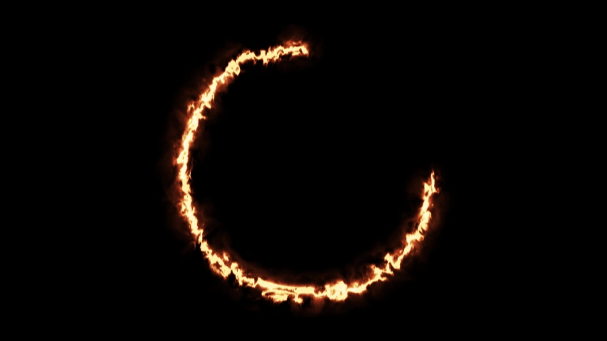 Beautiful ring of fire on black background. Abstract solar fire circle.  Gradually appearing burning ring of fire. 4k
