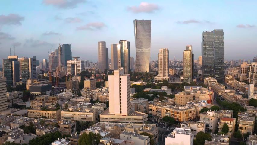 Business city center of Tel Aviv, Israel:  4k aerial drone skyline view | Shutterstock HD Video #1036010336